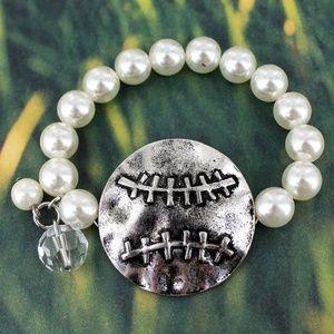 Burnished Silvertone Baseball Stretch Bracelet